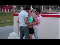 Incredible extreme public sex teen threesome ga...