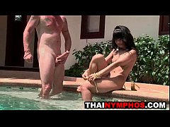 sexy thai teen sucks cock poolside