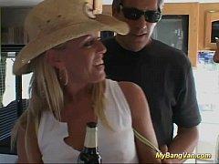 hot blonde babe pickuped for extreme gangbang f...