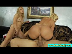 Real stepmom and stepdaughter ride dick