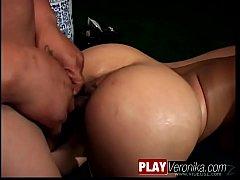 Lewd ebony babe gets dick in all juicy holes