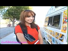 icecream truck teen schoolgirl in knee high soc...