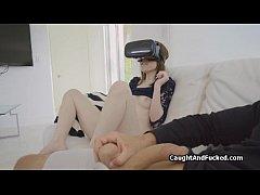 Teen caught masturbating on VR porn