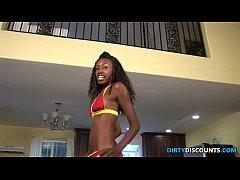 Ebony babe guzzles spunk