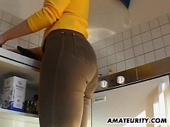 Amateur German girlfriend toys and sucks with c...