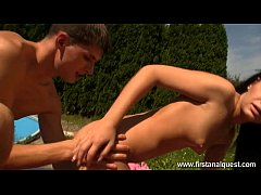 Firstanalquest.com - ANAL GIRLFRIEND FUCKED FROM BEHIND OUTDOORS BY THE POOL