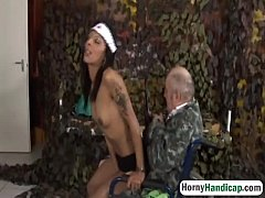 Handicapped grandpa gets lucky with sexy brunette