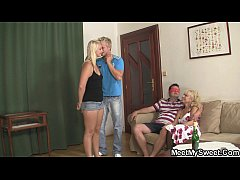 Funny game with mature couple and teen