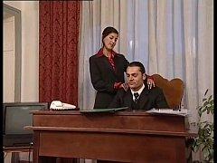Hot secretary in mini skirt banged by her head ...