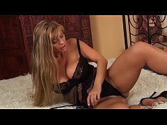 Beautiful blonde sexbomb squirts and moans while masturbating with a huge dildo