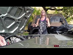 Blonde bimbo tries to sell car, sells herself
