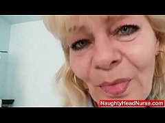 Older blonde mature shows off natural tits and ...