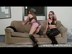 Madison ivy challenges alektra blue to take a whole strapon 2