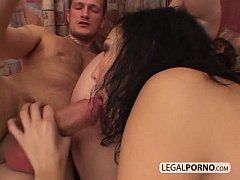 Big cock in a threesome with hot-ass brunettes ...