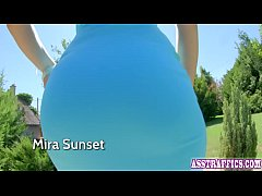 Redhead Mira Sunset loves taking a dick in her ass