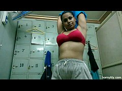Horny Lily Indian Babe In Gym Working Out Naked