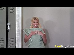Lusty locker-room fun with beautiful Megan Moore