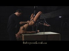 blonde trembles of fear and pain in submission