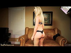 Amateur babe giving a blowjob on casting couch