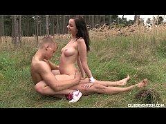 Brunette teen have sex outdoors