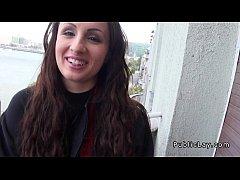 Amateur student blowjob on the balcony