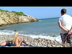 MyFirstPublic - Busty gold-digger fucked hard on the beach and must swallow cum