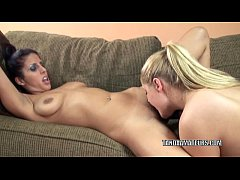 Busty lesbo Lavender makes her girlfriend Savan...