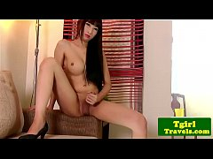 Shy Asian Ladyboy with Big Dick Cums Big Load -...