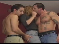 Horny and hot hooker can be fucked by three men...