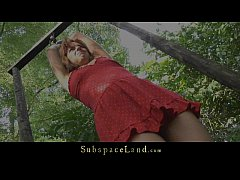 Young teen slave driven in the forest for bonda...
