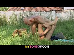 Old man eats his son's GF pussy in the fields
