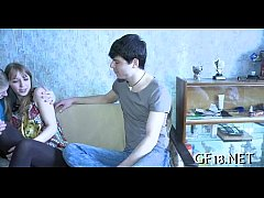Beautiful legal age teenager gal stands doggy f...