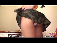 Petite teen Lara loves flashing her little panties