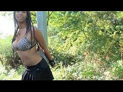Afro ebony teens public nudity and dildo masturbation outdoors