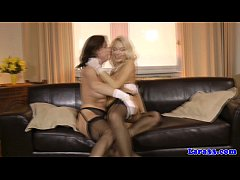 Mature euro goes lesbian with teen