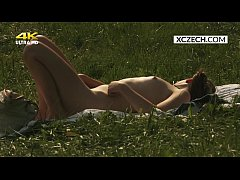 Czech teen masturbating outdoor and watcher spy...