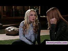 Teens Ela Darling and Samantha Rone celebrate a...