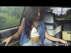Nasty hot chick Diamond Monroe in wild outdoor ...