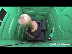 Porta Gloryhole boyish blonde sucks strangers c...