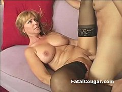 Amazing blonde cougar with bigboobs bounces on fat dick with pussy to mouth