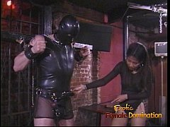 Kinky stud in a mask enjoys being spanked by an...