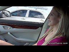 Blonde teen takes huge cock in backseat in public