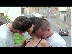 PUBLIC sex gangbang threesome with teen girl on...