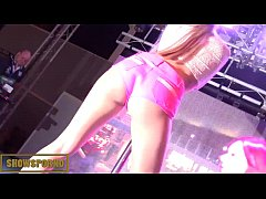 Blonde pornstar pole dance striptease on stage