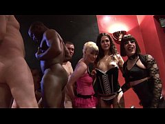 Kinky orgy with shemales and a fat woman
