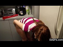 Amateur couple fucking in the kitchen