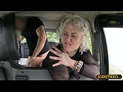 Sexy blonde chick customer rides drivers big co...