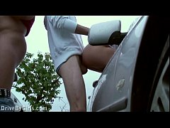 Facial cum on a girl through a car window in public sex gang bang dogging orgy