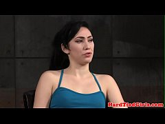 restrained submissive flogged in dungeon