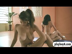 Sexy babes and trainer hot yoga session while t...